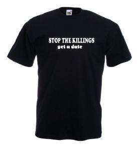 Tricou negru, imprimat Stop Killings