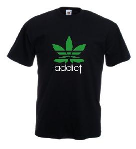 Tricou negru imprimat Addict
