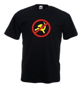Tricou negru imprimat Anti Comunism
