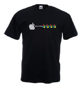 Tricou negru imprimat Apple Packman