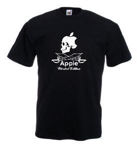 Tricou negru imprimat Apple Pirated Edition