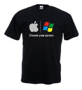 Tricou negru imprimat Apple Vs Windows