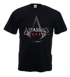 Tricou negru imprimat Assassin's Creed Logo DTG