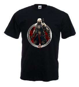 Tricou negru imprimat Assassin's Creed III DTG