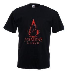 Tricou negru imprimat Assassin's Creed Ripped DTG