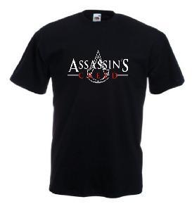 Tricou negru imprimat Assassins Creed Logo