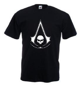 Tricou negru imprimat Assassins Creed Skull