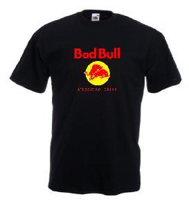 Tricou negru imprimat Bad Bull