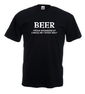 Tricou negru imprimat Beer Sponsor