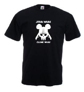 Tricou negru imprimat Clone Wars