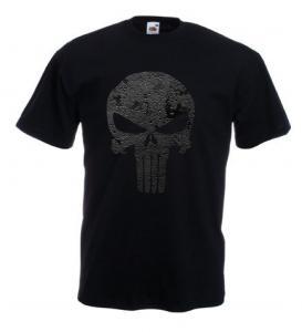 Tricou negru imprimat Corrosive Punisher DTG