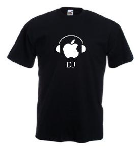 Tricou negru imprimat DJ Apple