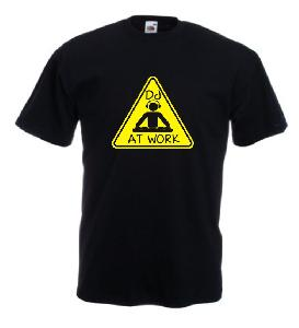 Tricou negru imprimat DJ Work