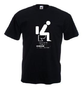 Tricou negru imprimat DOWNLOADING