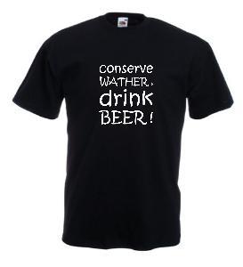 Tricou negru imprimat Drink Beer