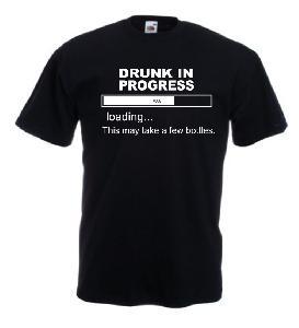 Tricou negru, imprimat Drunk