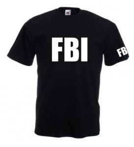 Tricou negru imprimat F.B.I.