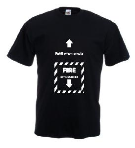 Tricou negru imprimat Fire Extinguesher 2