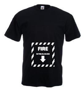 Tricou negru imprimat Fire Extinguesher