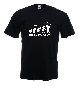 Tricou negru, imprimat Fishing Evolution