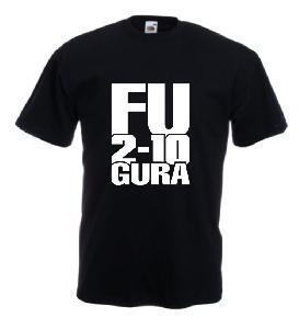 Tricou negru, imprimat Fu 2 10 gura