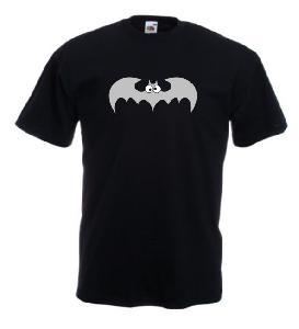 Tricou negru imprimat Funny Bat