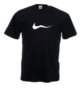 Tricou negru, imprimat Funny Nike alb