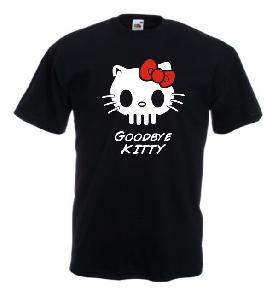 Tricou negru imprimat Goodbye Kitty