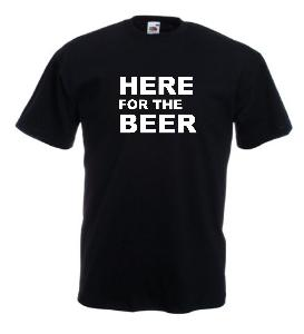 Tricou negru imprimat Here for Beer