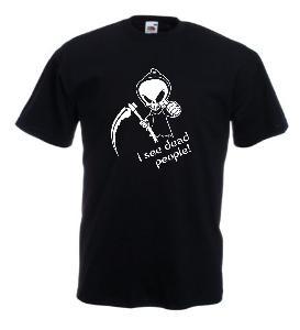 Tricou negru imprimat I see dead people