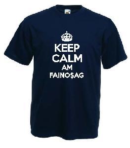 Tricou negru imprimat Keep Calm Am Fainosag
