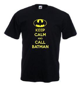 Tricou negru imprimat Keep Calm and call Batman