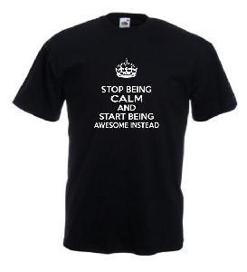 Tricou negru imprimat Keep Calm Awesome