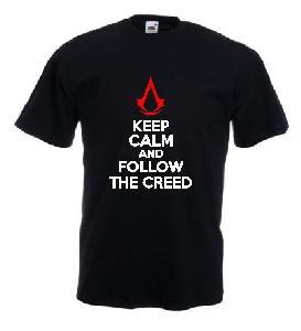 Tricou negru imprimat Keep Creed