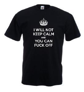 Tricou negru imprimat Keep Fu-- Off