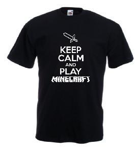 Tricou negru imprimat Keep Play Minecraft