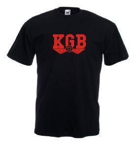 Tricou negru imprimat KGB