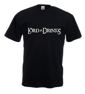Tricou negru imprimat Lord of the Drinks