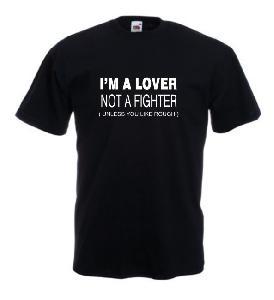 Tricou negru imprimat Lover