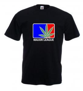Tricou negru, imprimat Major Leaf