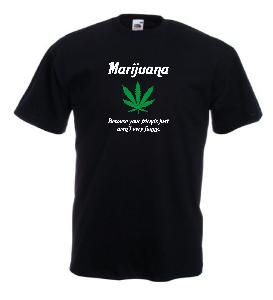 Tricou negru imprimat Marijuana Friends