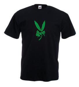 Tricou negru imprimat Marijuana Victory
