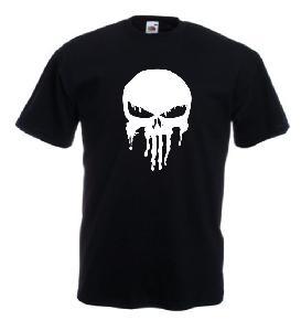 Tricou negru imprimat Melting Punisher