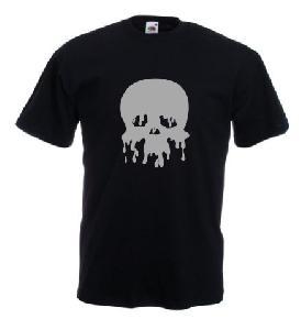Tricou negru imprimat Melting skull
