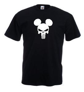 Tricou negru imprimat Mickey Punisher