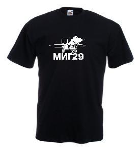Tricou negru imprimat MIG 29