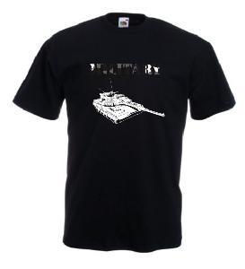 Tricou negru imprimat Military