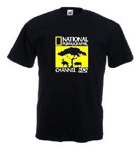 Tricou negru, imprimat National Pornographic HD