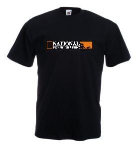Tricou negru, imprimat National Pornographic