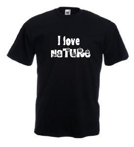 Tricou negru imprimat Nature